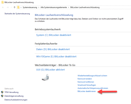 Bitlocker entfernen in Windows 10