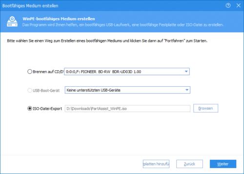 AOMEI Partition Assistant (PA) Standard Edition bootfähiges Notfallmedium erstellen