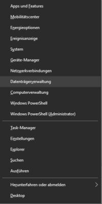 Datenträgerverwaltung im Win+x Menü von Windows 10