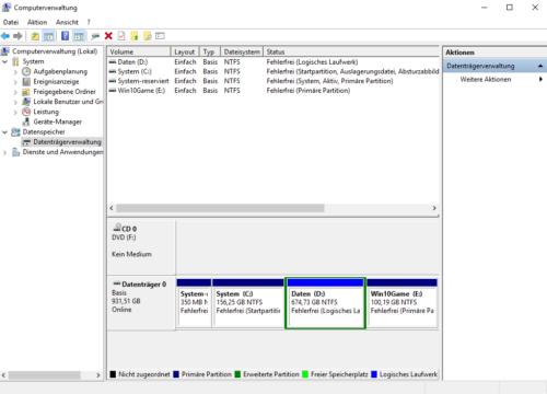 Datenträgerverwaltung von Windows 10