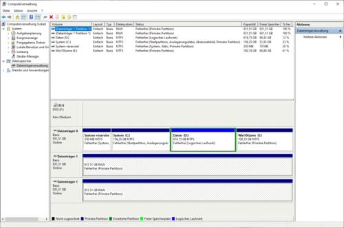 Datenträgerverwaltung von Windows ist der Partition-Manager für Windows 10