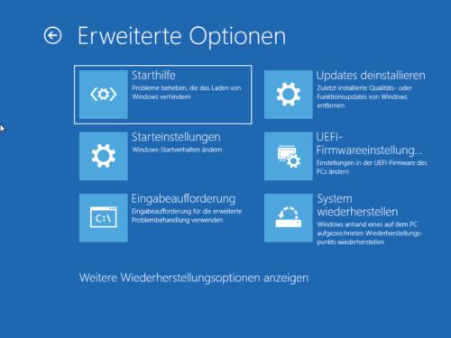 Erweiterte Startoptionen von Windows mit System wiederherstellen