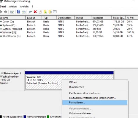 Formatieren von USB Stick über die Datenträgerverwaltung
