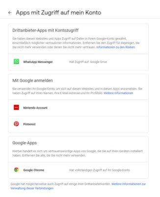Google Konto Zugriffsberechtigungen