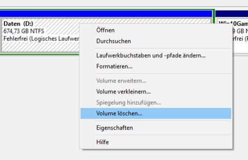 Löschen von Volumes in Windows