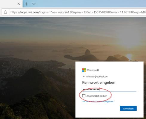 Login im Browser mit Microsoft-Konto, um Microsoft Office kostenlos zu nutzen