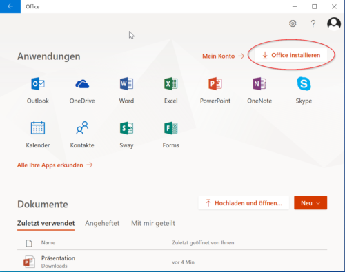 Login mit Office 365 Konto