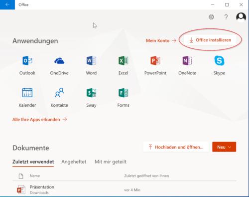 Login mit Office 365 Konto