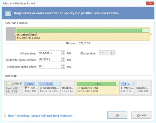 Macrorit Disk Partition Expert Free Edition Größenänderung von Partitionen