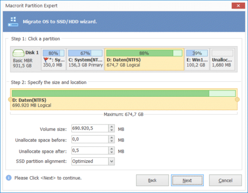 Macrorit Disk Partition Expert Free Edition Migration auf neue SSD