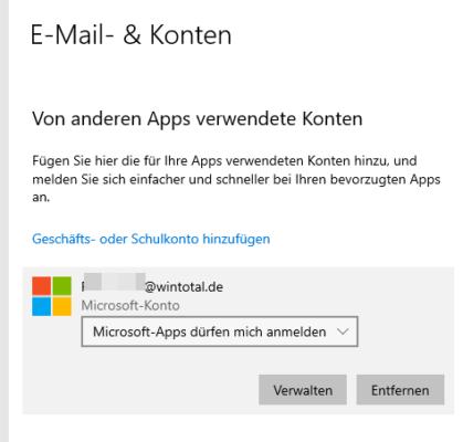 Microsoft-Konto entfernen