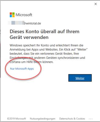 Microsoft-Konto nur für Apps verwenden