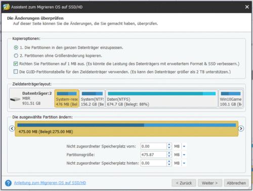 Minitool Partion Wizard free Assistent zum Migrieren OS auf SSD und HD