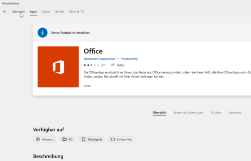 Office App im Store