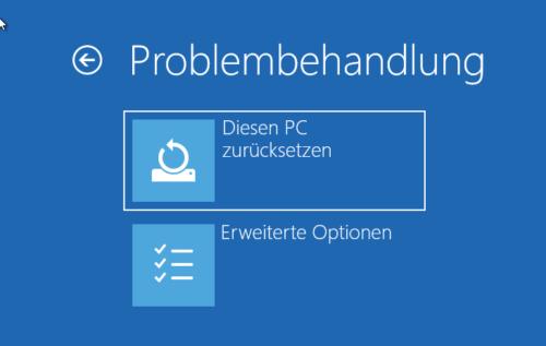 Reparaturinstallation über diesen PC zurücksetzen
