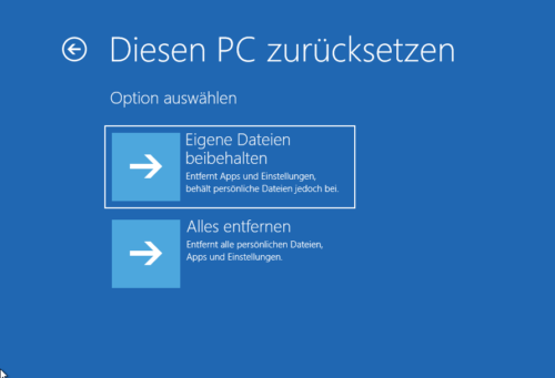 Reparaturinstallation von Windows 10
