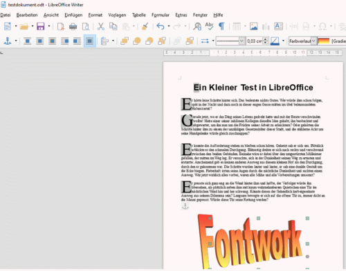 Testdokument in LibreOffice