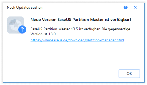 EaseUS Partition Master Free Update notwendig