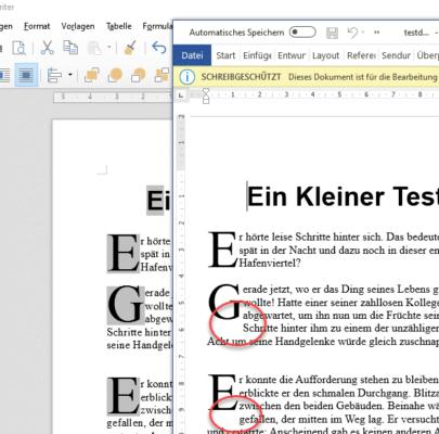 Vergleich Darstellung Word und LibreOffice von ODT-Dateien
