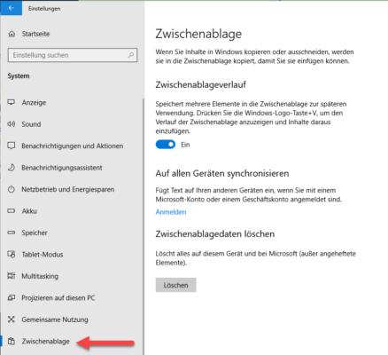 Verwaltung vom Zwischenablageverlauf von Windows 10