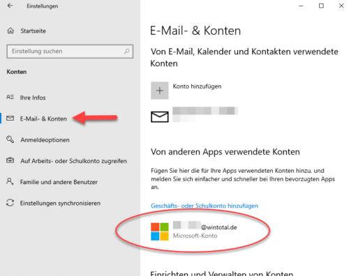 Verwendetes Microsoft-Konto löschen