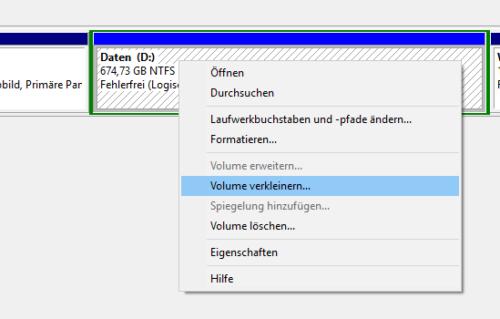 Volume D ohne Datenverlust verkleinern