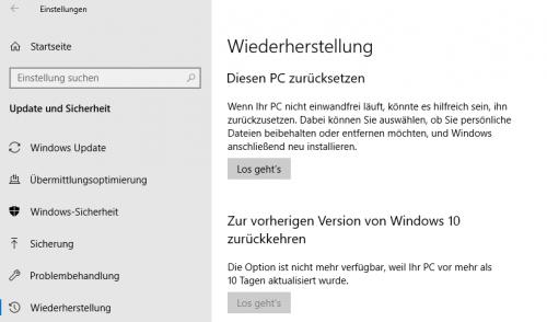Wiederherstellung von Windows 10