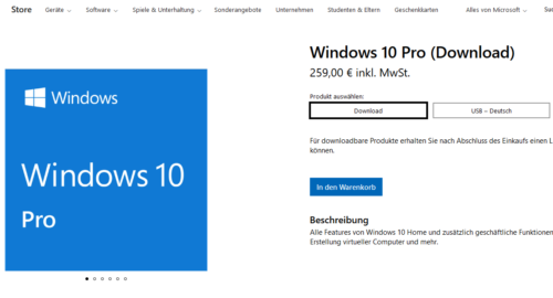 Windows 10 Pro zum Download kaufen