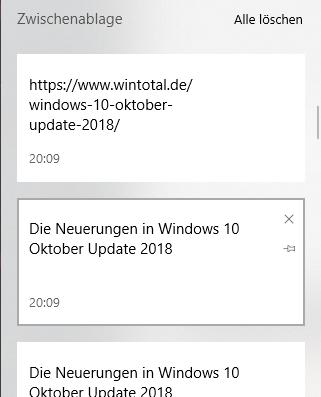 Windows Zwischenablage Verlauf wird gespeichert