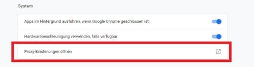 Chrome Proxy Server nutzen