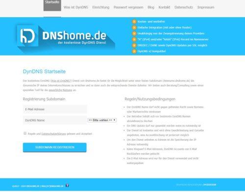 Startseite des kostenlosen DNSHome DynDNS Service