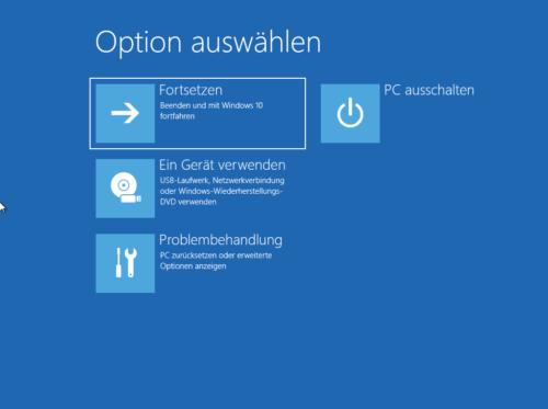 Startoptionen von Windows 10