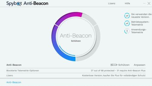 Benutzeroberfläche von SpyBot Anti-Beacon