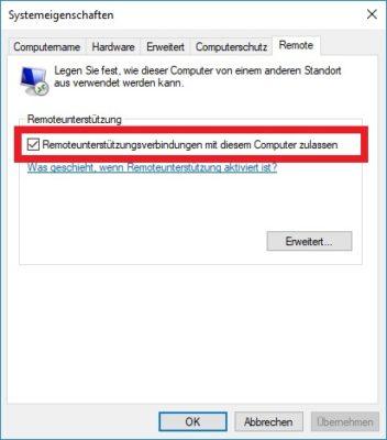 Windows 10 Remoteunterstützung aktivieren