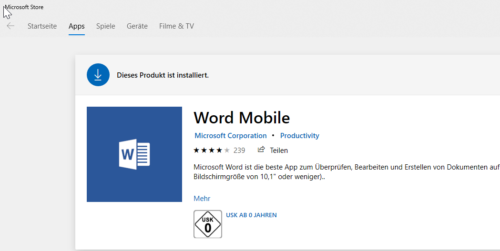Word Download in der Mobile-Edition