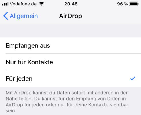 AirDrop-Einstellungen