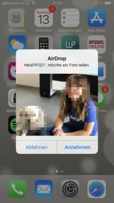 Aidrop auf dem iPhone Fotos empfangen