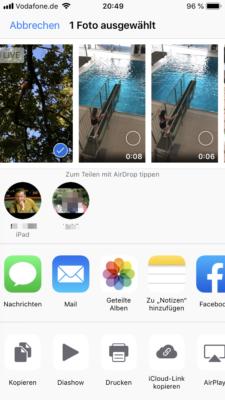 Aidrop iPhone Inhalte teilen