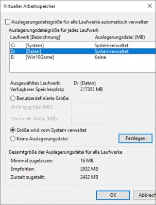Auslagerungsdatei in Windows 10 anpassen Größe vom System