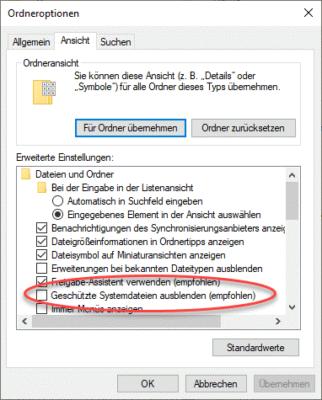 Geschützte Systemdateien wie die Auslagerungsdatei in Windows 10 sind normalerweise im Explorer ausgeblendet.