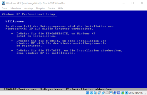 Installation von Windows XP im Blue Screen