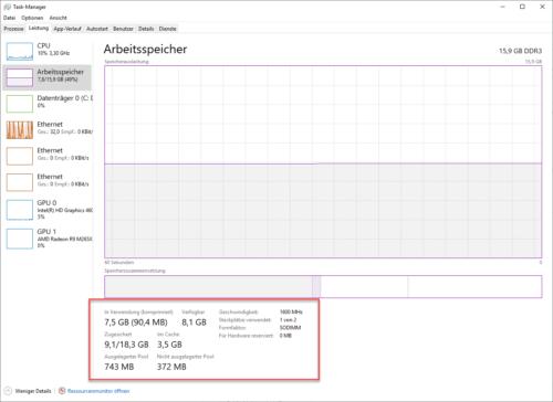 Der Task-Manager zeigt an, wie die Auslagerungsdatei in Windows 10 genutzt wird