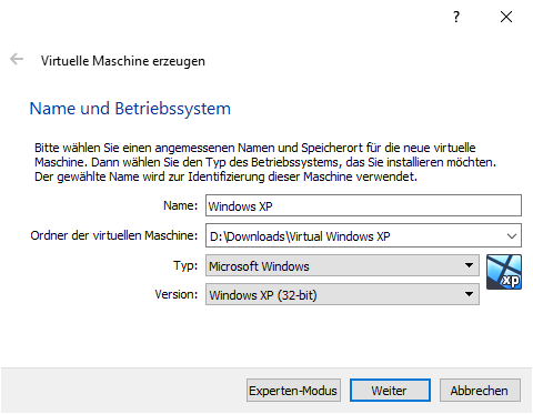 Virtual Box Windows XP einrichten