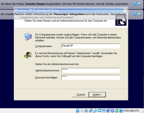 Das virtuelle Windows XP in der VirtualBox kann eingerichtet werden
