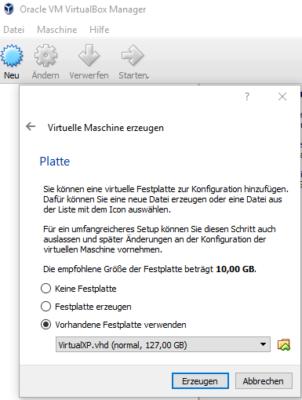Windows XP Image als vorhandene Festplatte verwenden