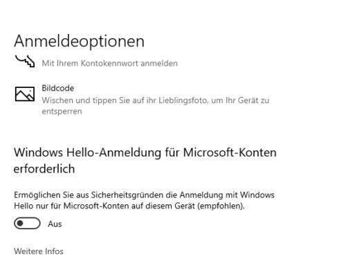 Windows Hello-Anmeldung abschalten