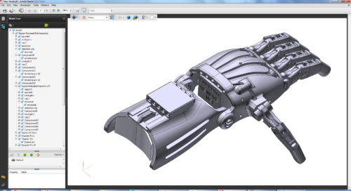 Ansicht einer Roboterhand in Autodesk Fusion 360