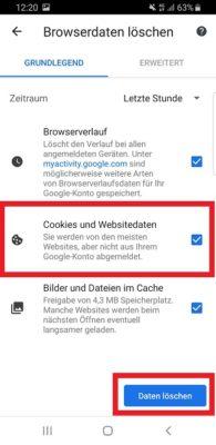 Cookies und Verlauf in Chrome löschen