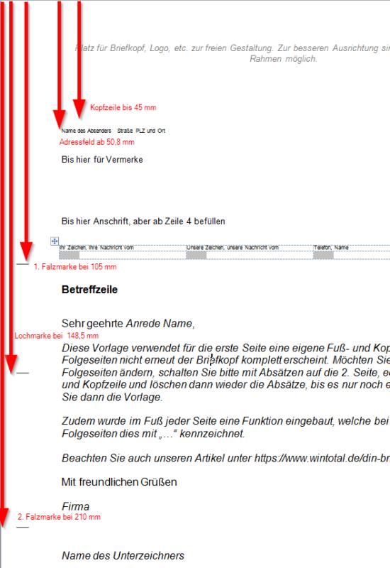 DIN-Brief Form B mit Loch- und Falzmarke