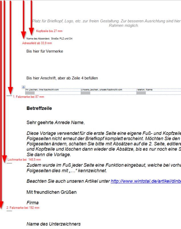 DIN-Brief Form A mit Loch- und Falzmarken